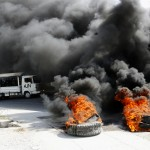 Demonstrators against the election results start fires in Port-au-Prince. -Jacob Kushner