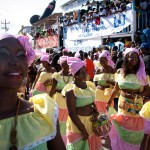 A group of women performed a dance before an eager crowd during Carnival celebrations in Jacmel on Feb. 28. (Jacob Kushner for Infosurhoy.com)